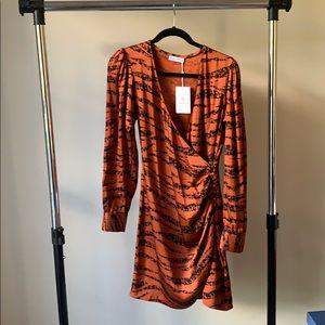 Anine Bing Penelope Tiger Print Silk Mini Dress